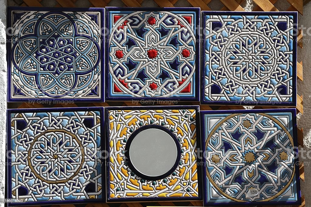 Decorative hand painted ceramic tiles for sale royalty-free stock photo
