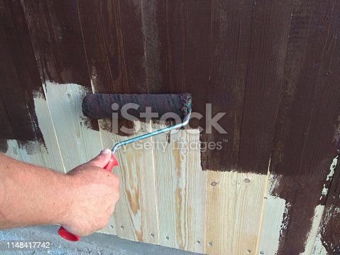 istock Decorative hand painted wall with roller repair 1148417742