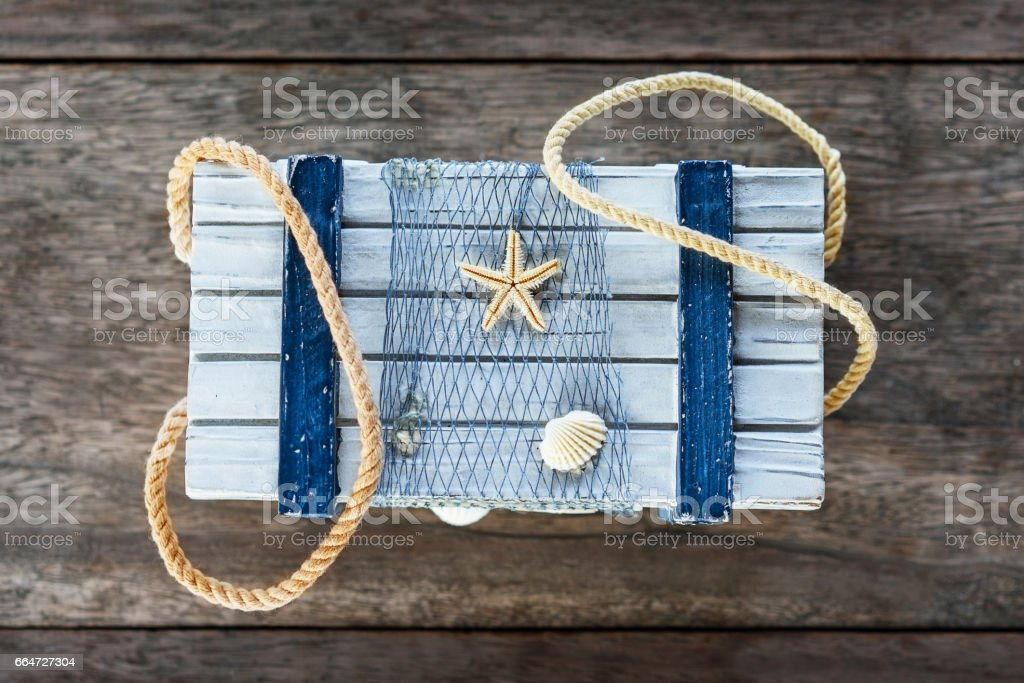 Decorative handmade Box with rope in sea theme, Top View stock photo