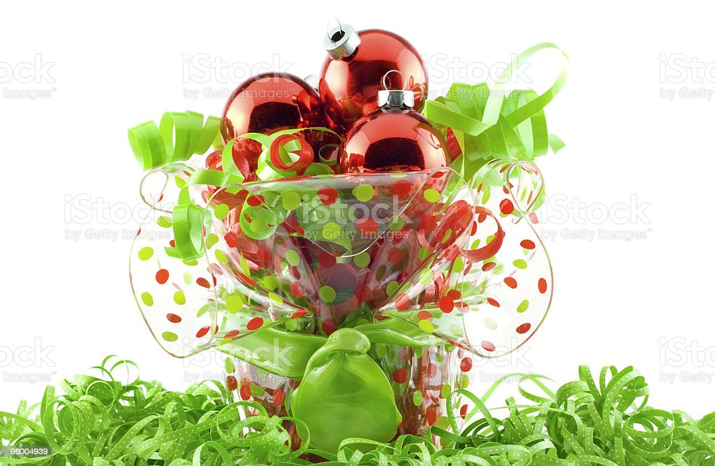Decorative Holiday Container with Ornaments royalty-free stock photo