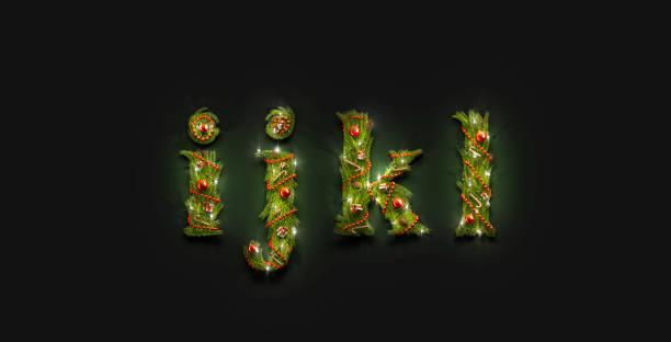 dekoratif i j k l küçük harfli noel yazı tipi mockup karanlık - k logo stok fotoğraflar ve resimler