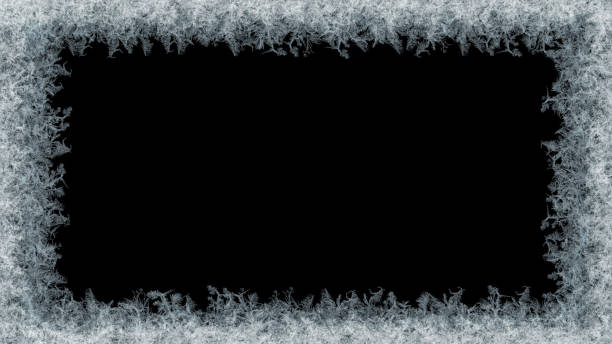 decorative ice crystals frame on black matte background - frost stock photos and pictures