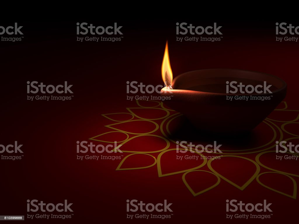 Decorative Indian Traditional Oil Lamp Stock Photo