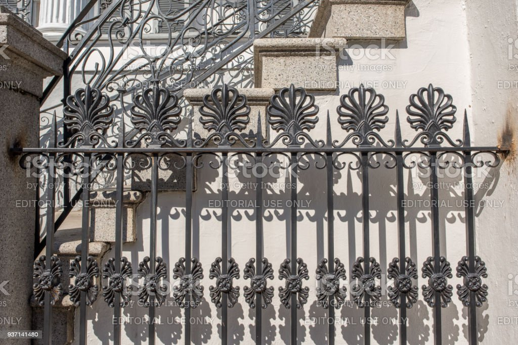 Decorative iron fence in the French Quarter stock photo
