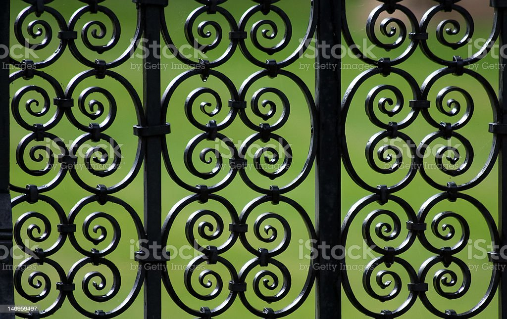 Decorative iron fence pattern (Cambridge) stock photo