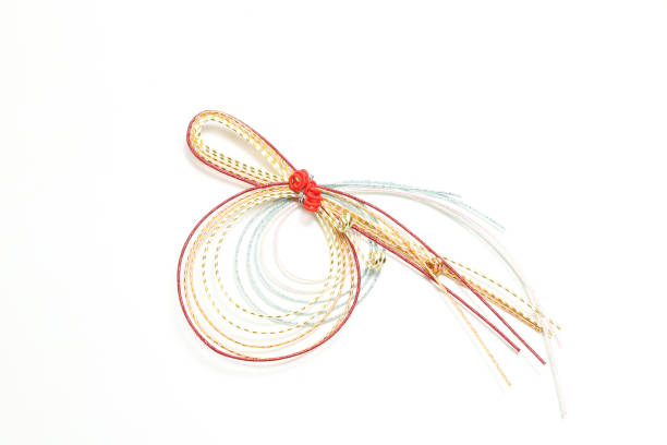 decorative japanese cord made from twisted paper - мидзухики стоковые фото и изображения