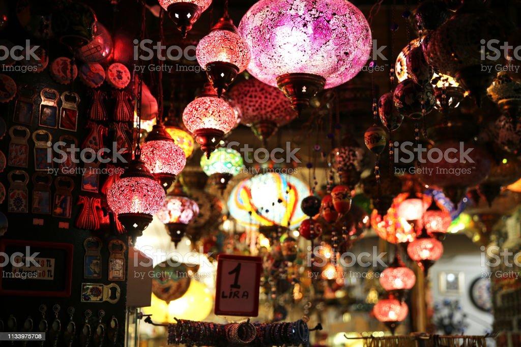 Decorative Lamps in Grand Bazaar stock photo