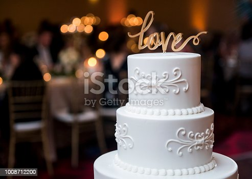Decorative Large Tall Fancy Wedding Cake with LOVE sign (Click for more)