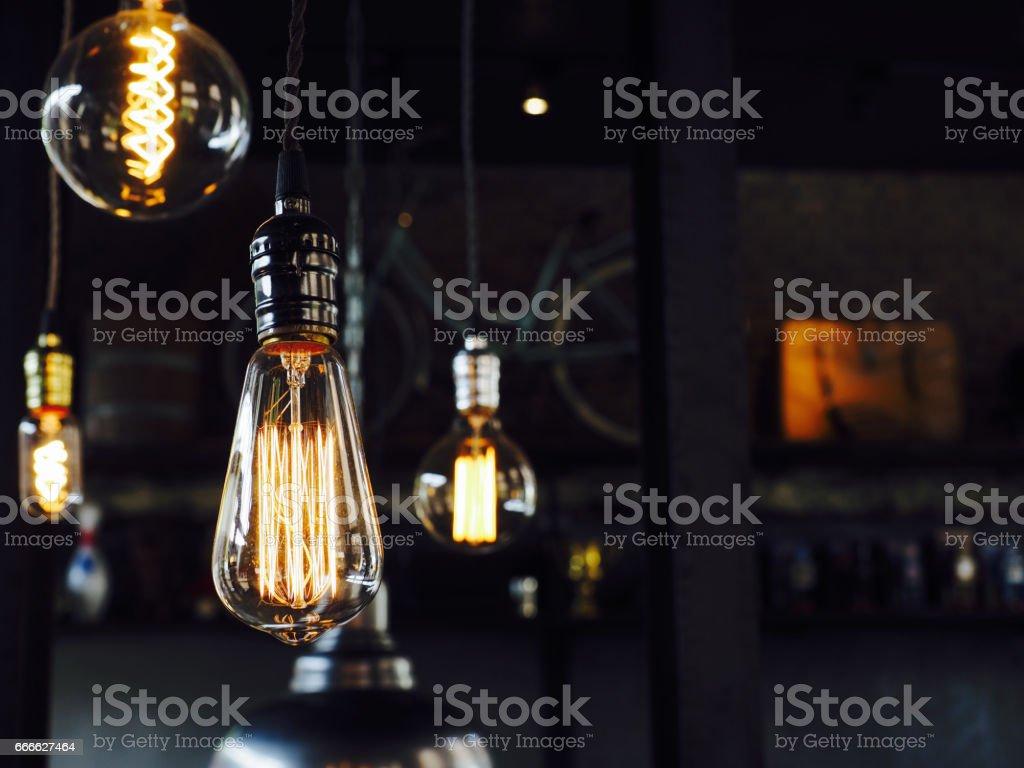 Decorative light bulbs in modern style stock photo