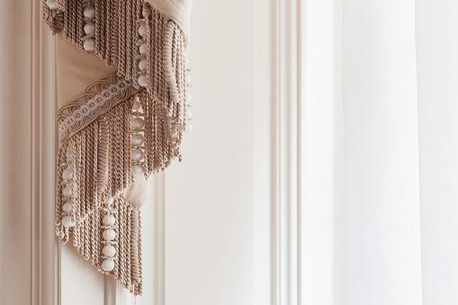 Decorative luxury curtains, close up photo