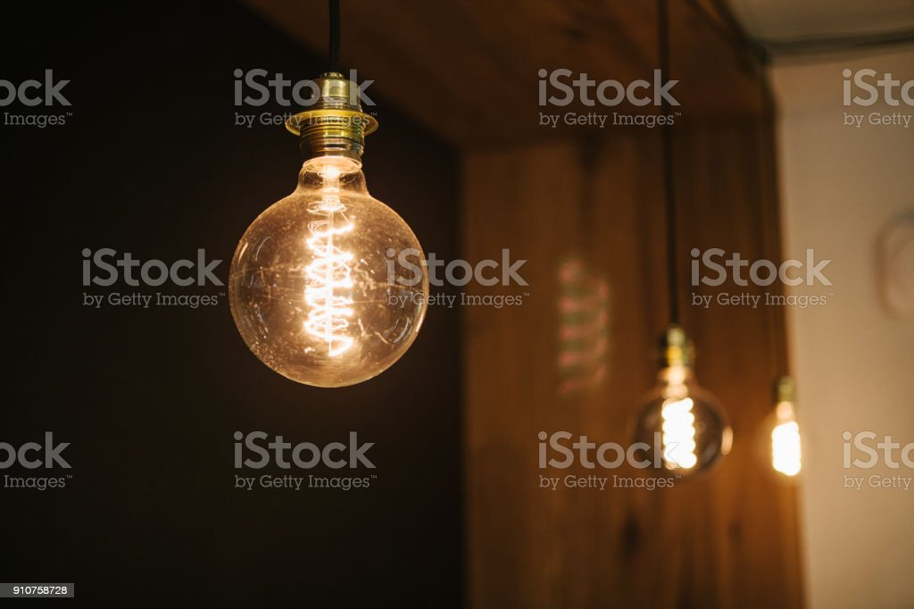 Decorative modern lamps in a cafe. Selective focus. stock photo