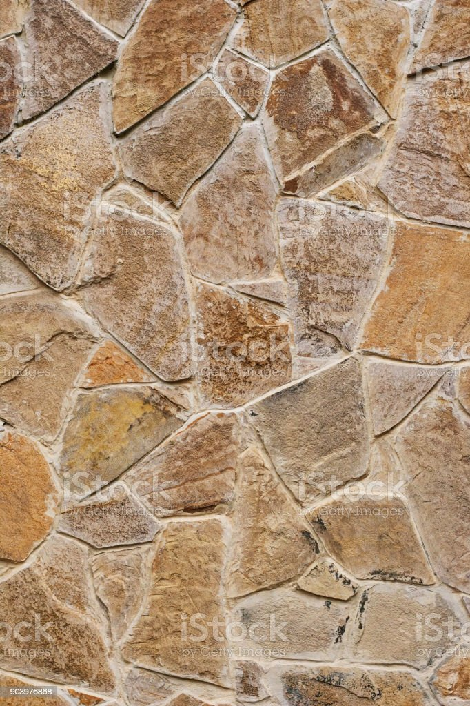 Decorative Modern Stone Wall Of Chipped Stone For Background Stock ...