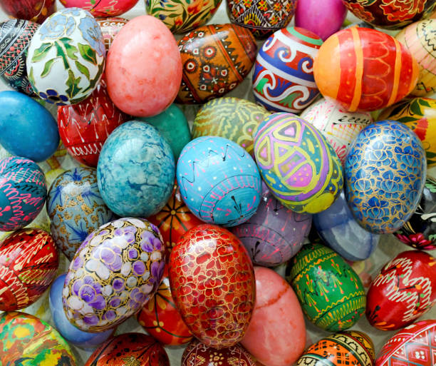 decorative multicolored Easter eggs - Easter home decoration stock photo
