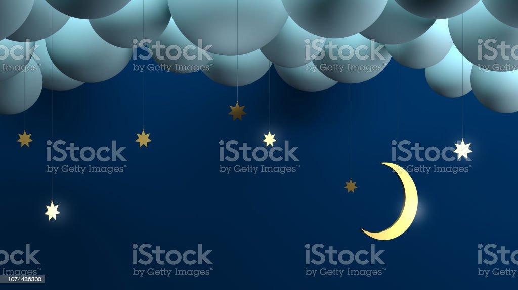 Decorative night clouds stars month. stock photo