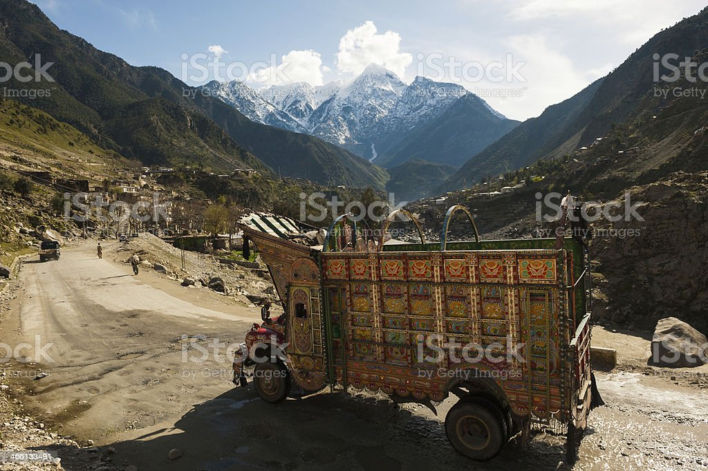Decorative old truck in northern Pakistan stock photo
