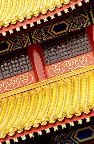 Decorative oriental rooftop stock photo