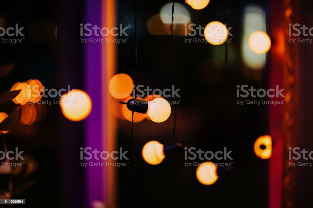 Decorative Outdoor Lights Hanging In The Garden At Night Royalty Free Stock  Photo