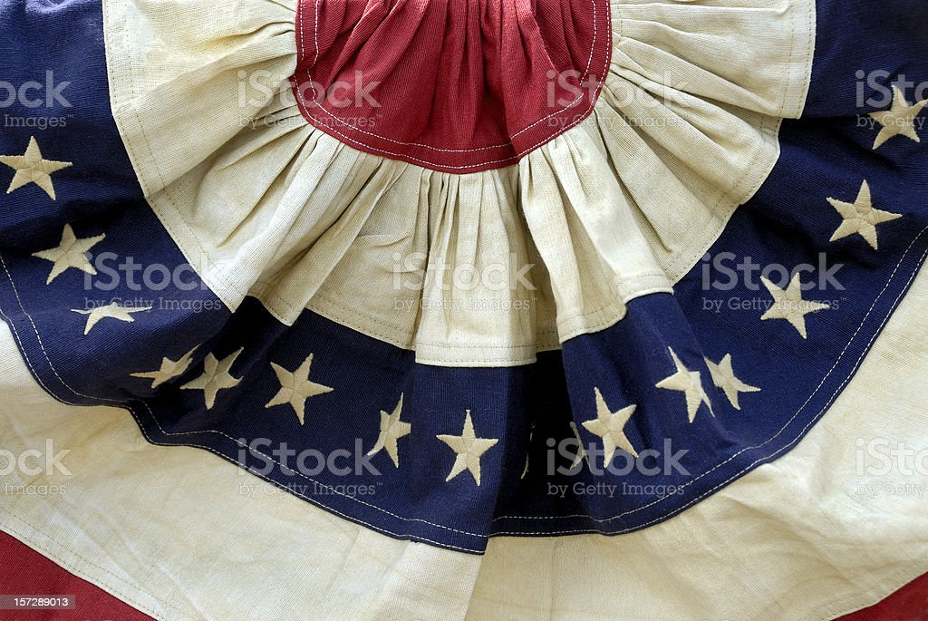Decorative Patriotic Red, White, and Blue American Flag Bunting stock photo