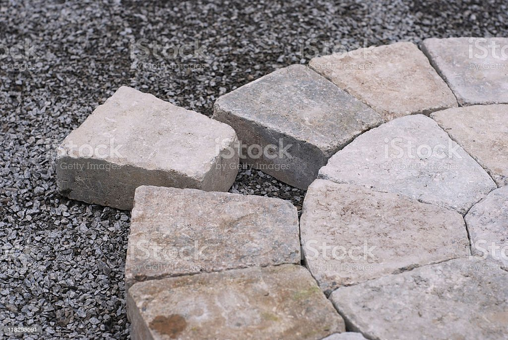 Decorative pavers in a circular pattern stock photo