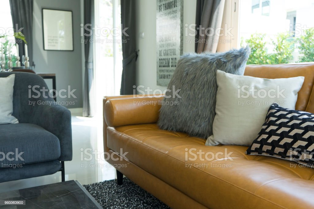 Decorative Pillow On Leather Sofa In Living Room Stock Photo - Download  Image Now