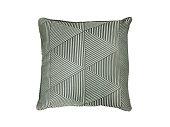 Decorative pillow with geometric pattern.