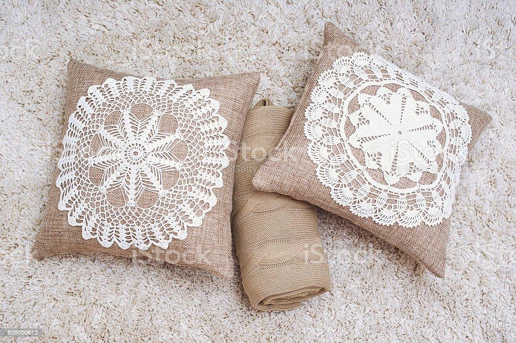 Decorative pillows still life stock photo