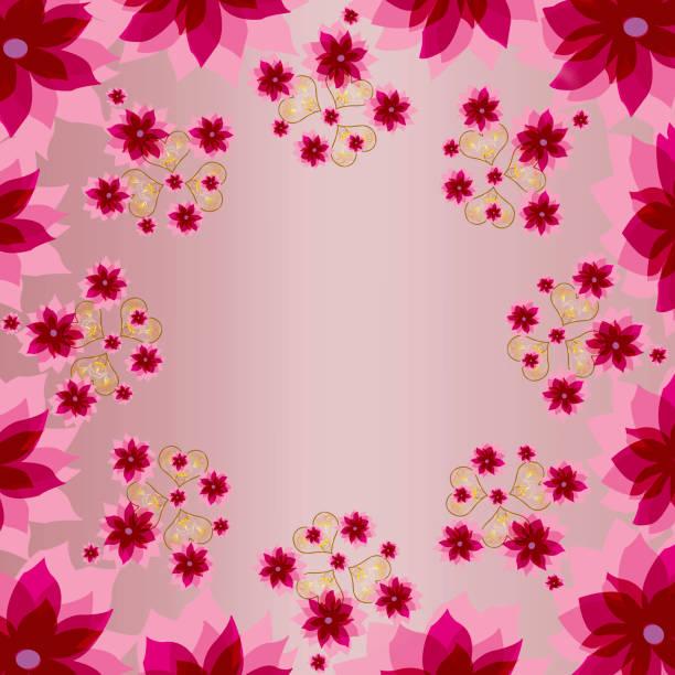 dekorative rosa farbe floral quadratischen hintergrund mit herzen - druck chiffon stock-fotos und bilder