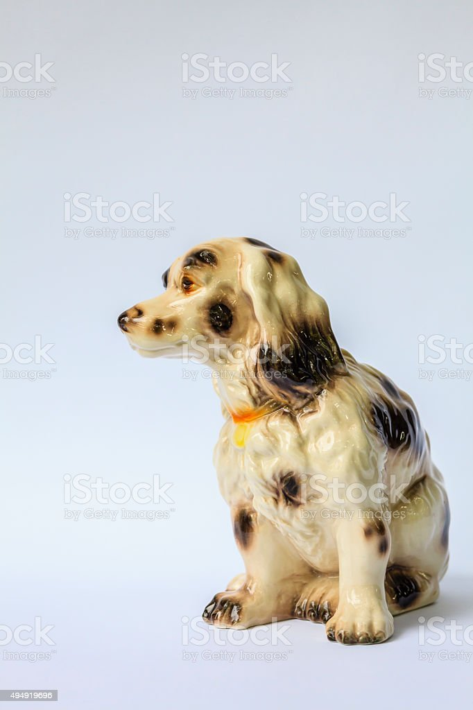Decorative porcelain dog stock photo