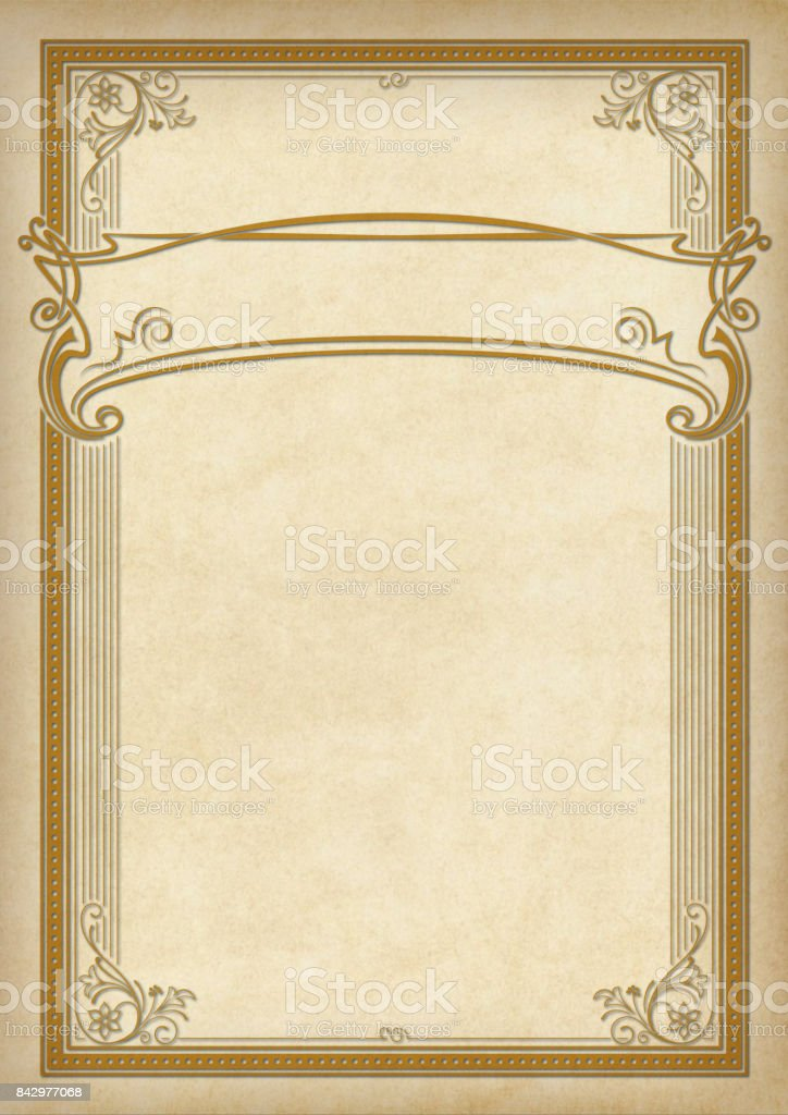 Decorative rectangular framework and banner on piece of parchment. Template for diploma, certificate, label. Retro, art-nouveau style. A3 page size. stock photo