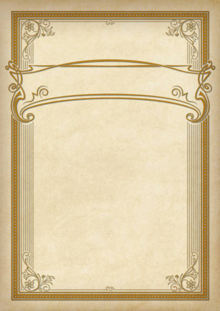 decorative rectangular framework and banner on piece of parchment. template for diploma, certificate, label. retro, art-nouveau style. a3 page size. - art nouveau stock photos and pictures
