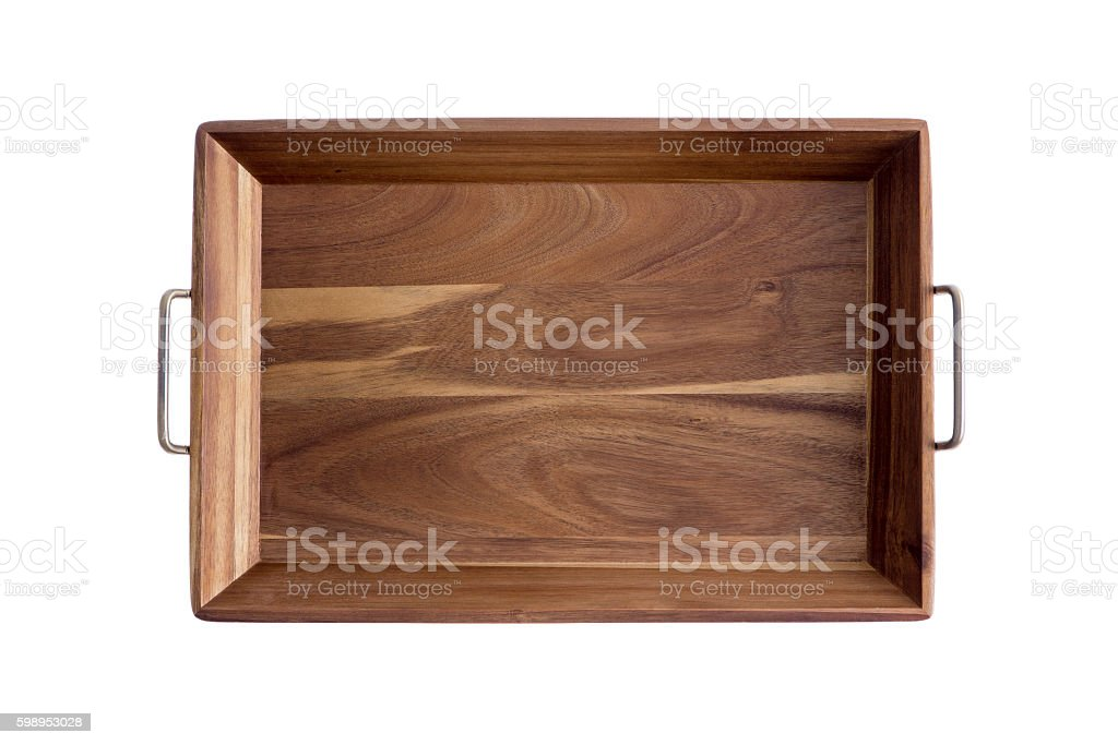 Decorative rectangular olive wood tray stock photo