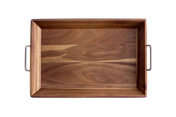 Decorative rectangular olive wood tray - foto de stock
