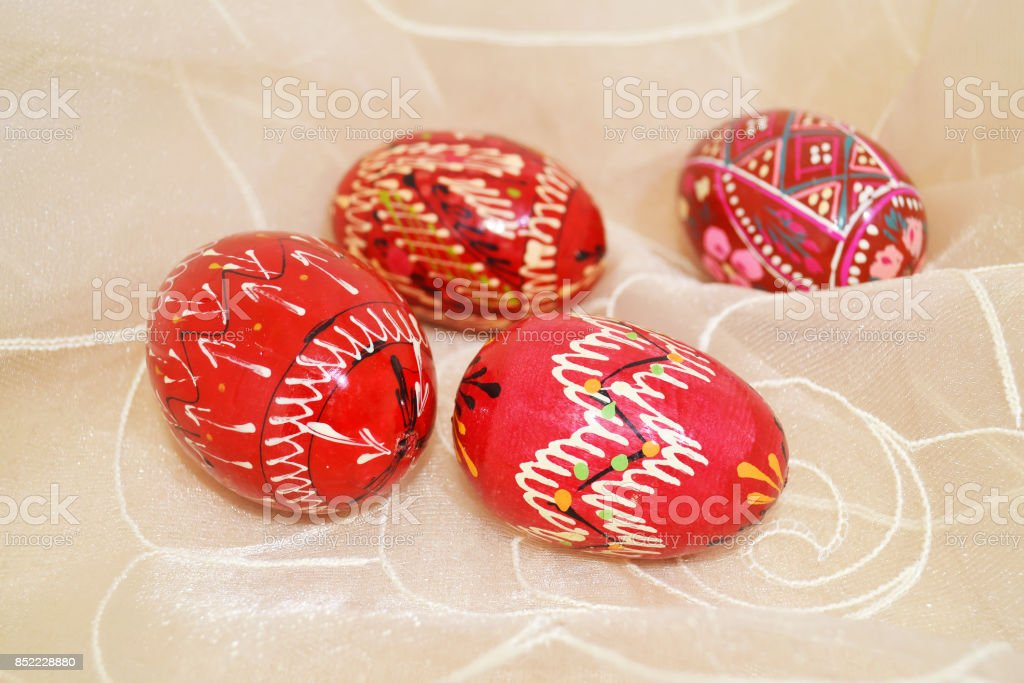 decorative red Easter eggs stock photo