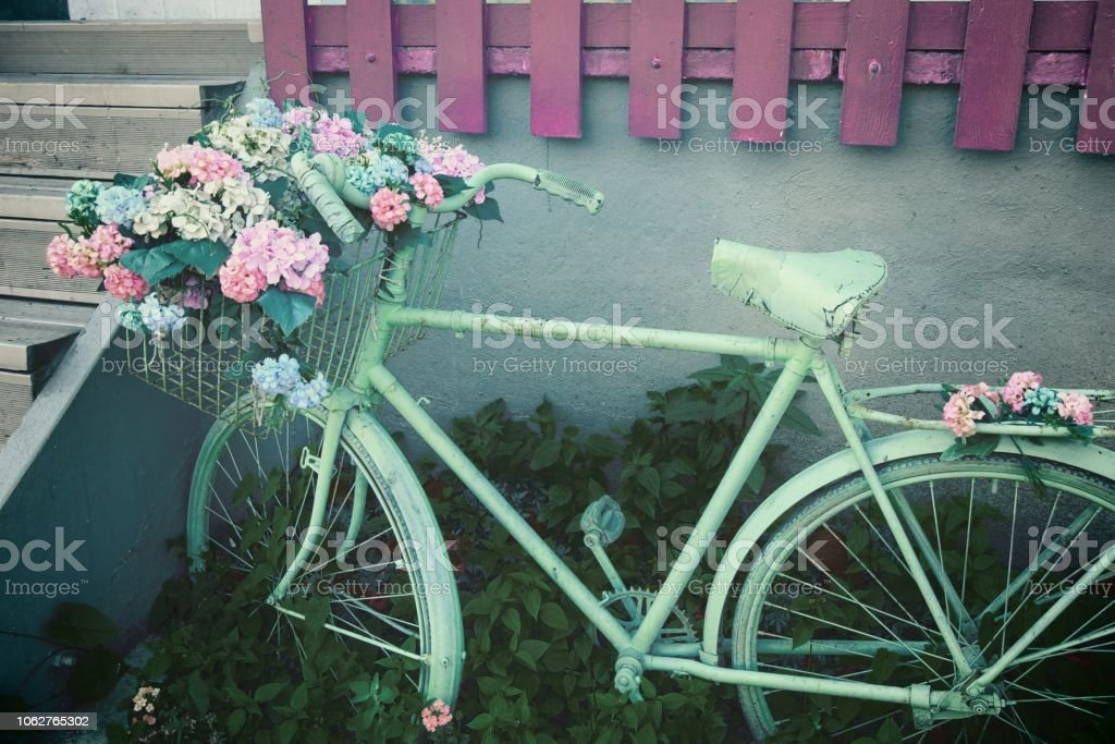 decorative retro bicycle with a bunch of flowers in the basket, Sarajevo - Bosnia And Herzegovina стоковое фото