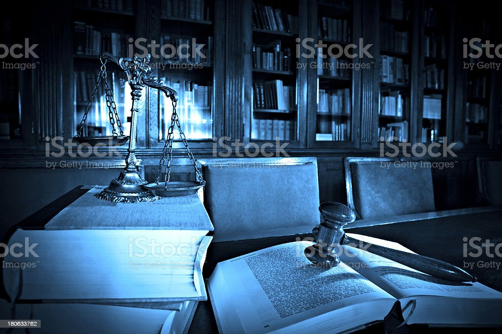 Decorative Scales of Justice in the library royalty-free stock photo