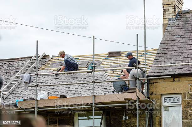 Decorative Slate Roof Restoration In Wales Stock Photo - Download Image Now
