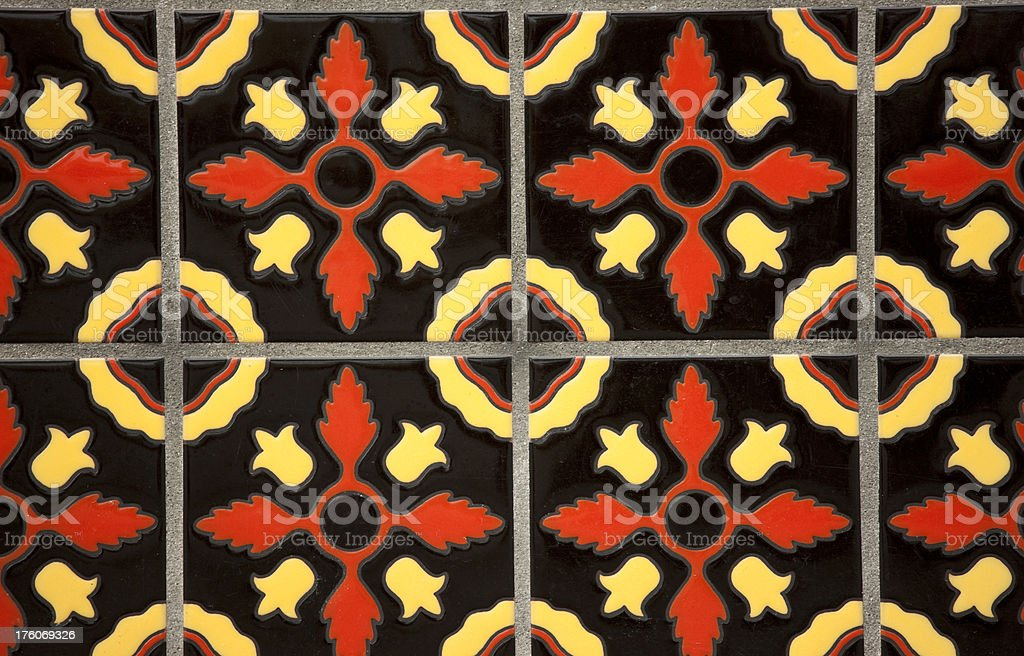 Decorative Spanish Style Tile on Wall, Background, Pattern royalty-free stock photo