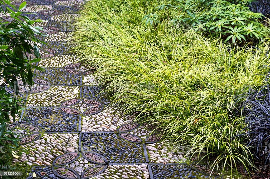 Decorative Stone Path Plants Lan Su Chinese Garden Portland Oregon stock photo