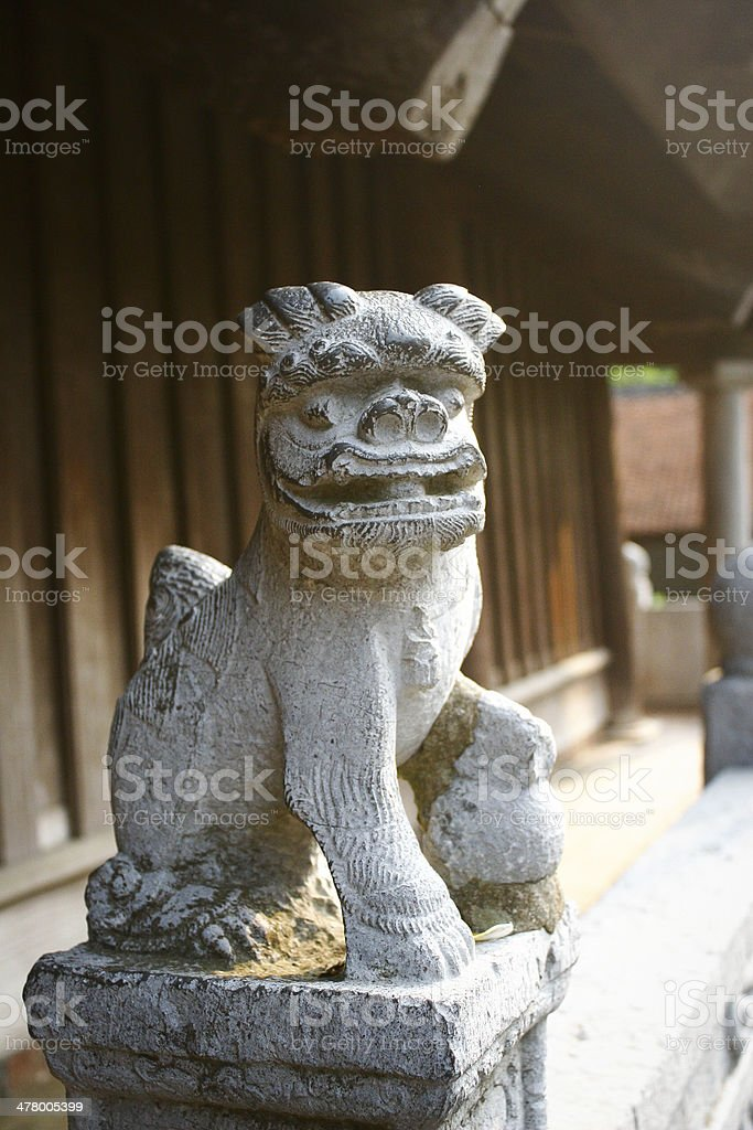 Decorative stone statues of ancient But Thap pagoda royalty-free stock photo