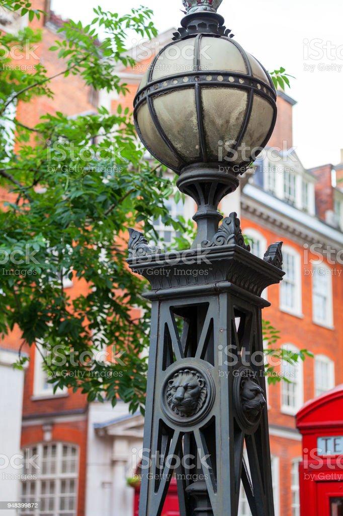 Decorative street lamp on a London street, London, United Kingdom. stock photo
