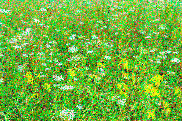 Decorative summery prairie abstract with light green background stock photo