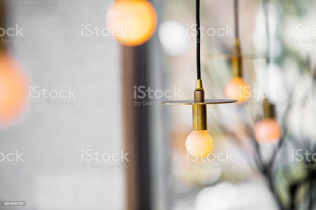 Decorative suspended lighting. stock photo