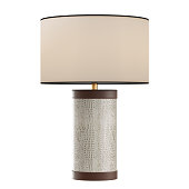 Decorative table lamp made of leather on isolated background. 3d rendering