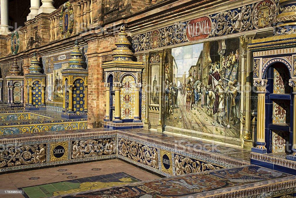 Decorative Tiles at The Plaza de Espana stock photo