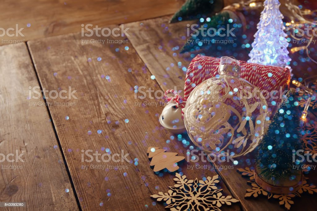 Decorative tree next to decorations and craft supply stock photo
