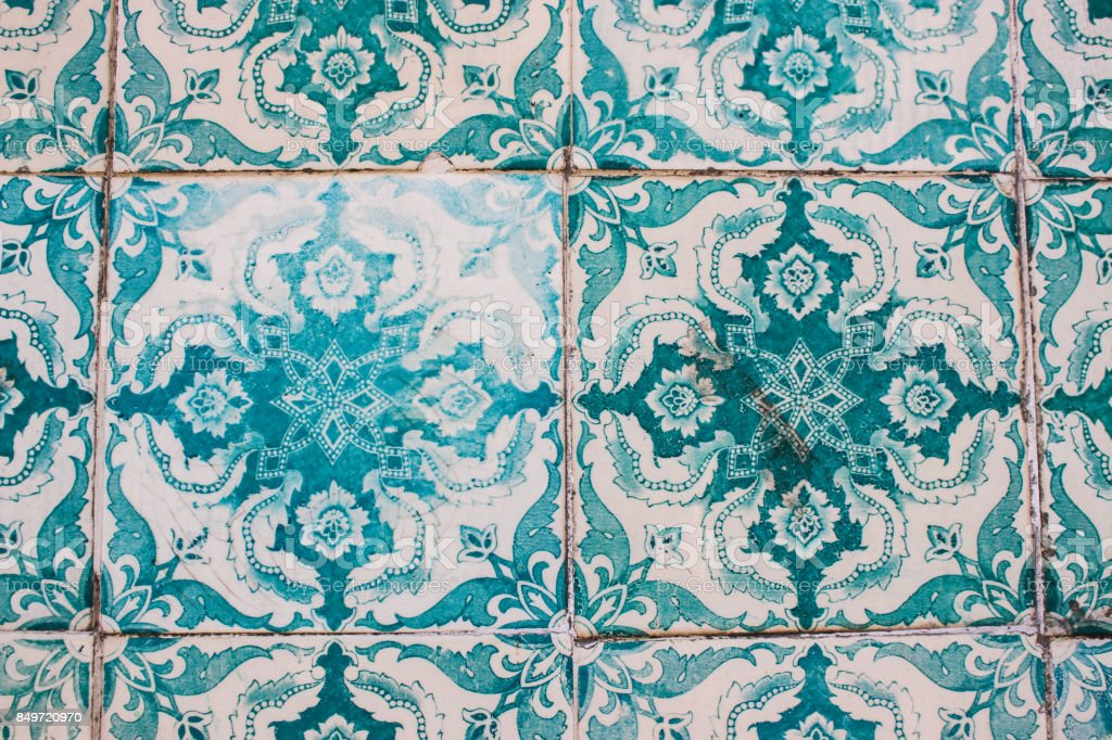 Decorative turquoise tiles on a building in Lisbon, Portugal stock photo
