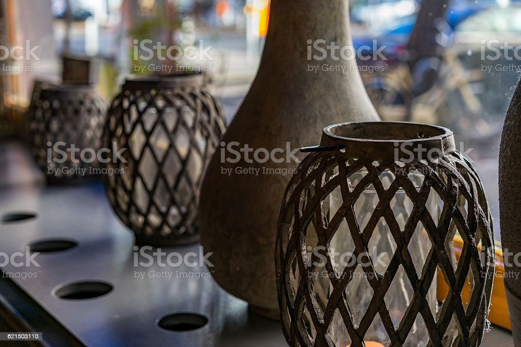 Decorative vessels on a window sill Lizenzfreies stock-foto