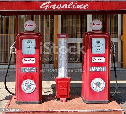 Pradamano, Italy. June 16 2019. Decorative vintage fuel pump Texaco in front of  Rock  60 club, recently opened