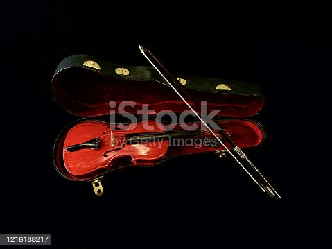 Decorative violin with case, on a black background. Bowed musical instrument. Toy violin with strings and bow.