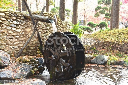 istock Decorative waterwheel in Korean garden 1271141486